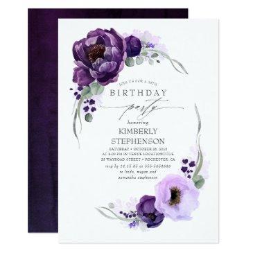 eggplant purple floral botanical modern birthday invitation