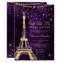 eiffel tower chic gold glitter purple sweet 16 invitation
