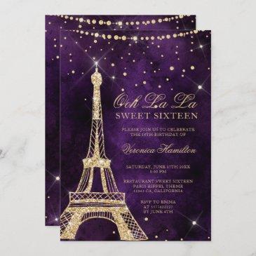 eiffel tower chic gold glitter purple sweet 16 invitation