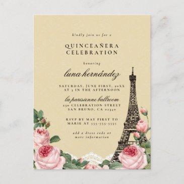 eiffel tower floral paris themed quinceañera invitation postinvitations