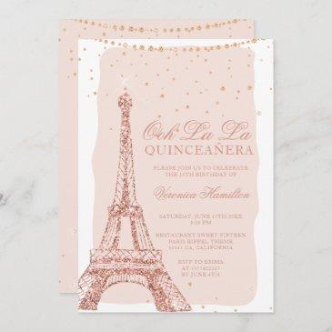 eiffel tower rose gold glitter blush quinceanera invitation