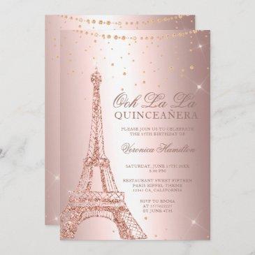 eiffel tower rose gold metallic foil quinceanera invitation
