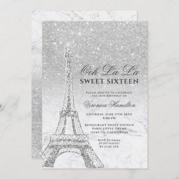 eiffel tower silver glitter marble sweet 16 invitation
