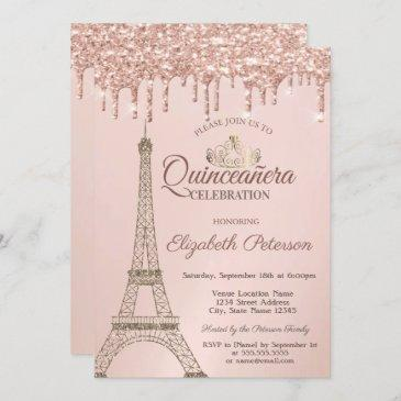 eiffel tower,tiara, rose gold drips quinceañera invitation