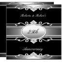 elegant 25th anniversary black silver invitations