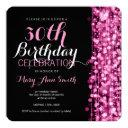 elegant 30th birthday party sparkles pink invitation