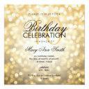elegant 40th birthday party gold glitter lights invitation