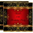 elegant 40th birthday red black gold art deco 2 invitations