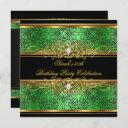 elegant 50th birthday party green lime gold damask invitation