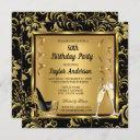 elegant 50th birthday party heels champagne photo invitation