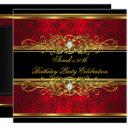 elegant 50th birthday party red black gold damask invitations