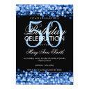elegant 50th birthday party sparkles blue invitation