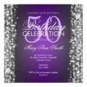 elegant 50th birthday party sparkles purple silver invitation