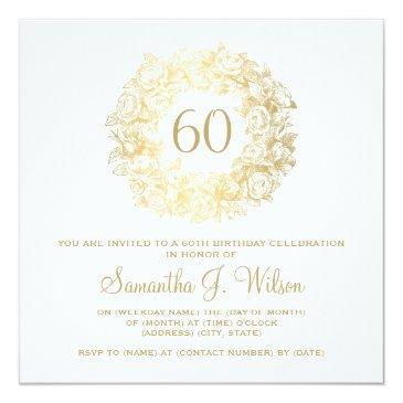 elegant 60th birthday vintage roses gold invitation
