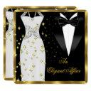 elegant affair white dress black tie gold birthday invitation