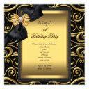 elegant birthday party black damask gold invitation
