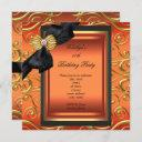 elegant birthday party black damask orange gold invitation