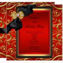 elegant birthday party black damask red gold invitation