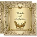 elegant birthday party gold beige butterfly invitation