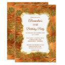 elegant birthday party gold rust copper damask invitation