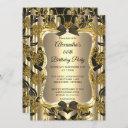 elegant birthday party gold sepia black damask invitation