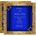 elegant birthday party royal blue damask gold invitation