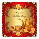 elegant birthday party tea red gold roses invitation