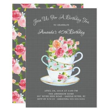 elegant birthday tea invitation
