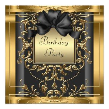 elegant black and gold birthday party invitations