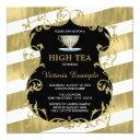 elegant black and gold tea party invitation