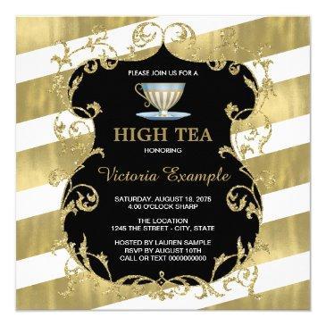 elegant black and gold tea party invitations