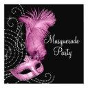 elegant black and pink masquerade party invitation