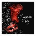 elegant black and red masquerade party invitation