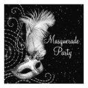 elegant black and white masquerade party invitation