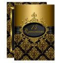 elegant black gold damask quinceanera invite