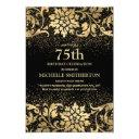 elegant black gold floral glitter 75th birthday invitation