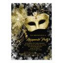 elegant black gold glitter masquerade party invitation
