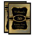 elegant black gold mens birthday party invitations