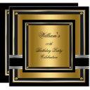 elegant black gold silver birthday party mens boys invitations