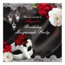 elegant black silk floral & lace masquerade party invitation