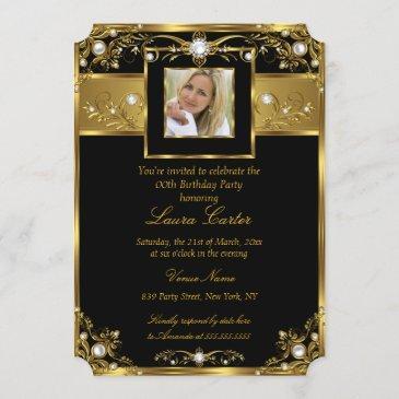 elegant black white gold pearl photo birthday invitation