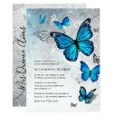 elegant blue butterfly cinderella quinceanera invitation