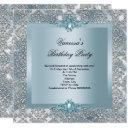 elegant blue damask silver birthday party invitation