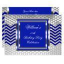 elegant chevron blue silver birthday party mens invitation