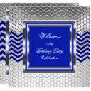 elegant chevron blue silver birthday party mens invitations
