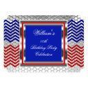 elegant chevron red blue silver birthday party invitation