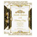 elegant damask gold white diamond birthday party invitations