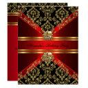 elegant damask regal red gold black birthday invitations