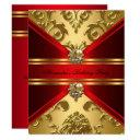 elegant damask regal red gold floral birthday invitations