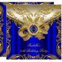 elegant elite royal blue gold birthday party 2 invitation